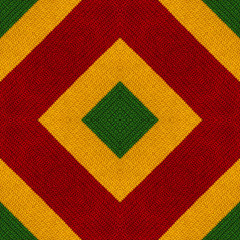 Reggae colors crochet knitted style background, top view. Collage with mirror reflection. Seamless kaleidoscope montage for cushion, blanket, pillow, plaid, tablecloth, cloth