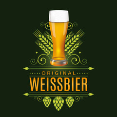 Vintage label design with realistic glass of Weissbier, traditional Bavarian light beer. Vector