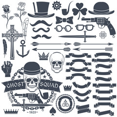 Set of elements for design retro emblem, logos. Emblem with a skull wearing a hat with a pistol and a dagger. Gangster tattoo.
