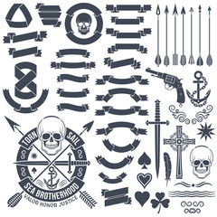 Set of vintage elements to create logos. Pirate skull emblem. Heraldic ribbon banners. Cross, dagger, skull, star, pistol, clover, anchor, arrows.