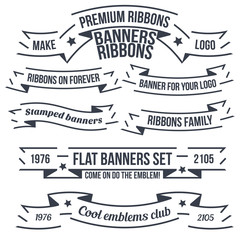 Original banners and ribbons for emblems and logos. A set of examples of text layout.