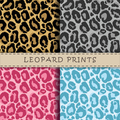 Seamless vector patterns set with leopard skin texture. Repeating leopard backgrounds for textile design, scrapbooking, wrapping paper. Vector leopard print.