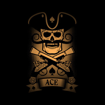 Pirate emblem skull with a pistol on a black background. Logo ace of spades.