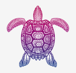 Decorative ethnic turtle with ornamental pattern. Vector tribal totem animal