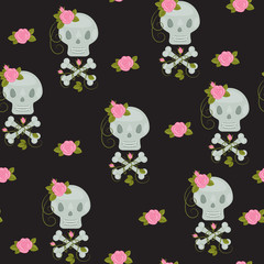 Scull with roses seamless wallpaper