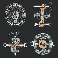 Logo, emblem repair workshop with hands and tools in a vintage, retro style on a black background. Textures and background on separate layers.