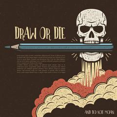 skull holding a pencil