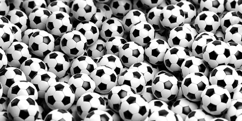Soccer balls background. 3d illustration