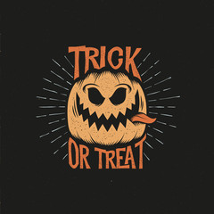 Trick or treat retro lettering. Halloween pumpkin with his tongue hanging out and sunburst. Layered vector illustration.