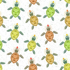 Seamless pattern with colorful turtles. Vector illustration.