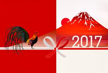 酉 鶏 富士山 年賀状