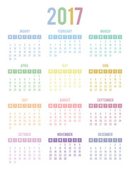 Calendar for 2017. Week Starts Monday. Multicolor vector templat