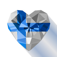 Vector crystal gem jewelry Finnish heart with the flag.