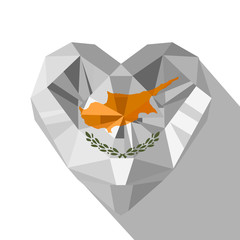 Vector crystal gem jewelry Cypriot heart with the flag of the Republic of Cyprus