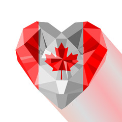 Vector crystal gem jewelry Canadian heart with the flag of Canada.