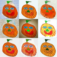 Painted funny pumpkin for Halloween. Set of illustrations