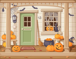 Vector illustration of a front door and porch with pumpkins decorated for Halloween.