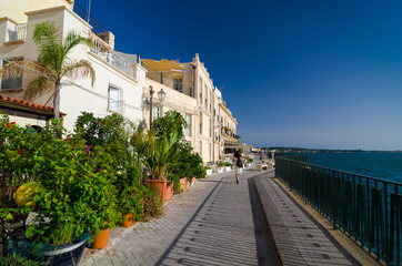 Embankment on the island of Ortygia in Syracuse, Italy.