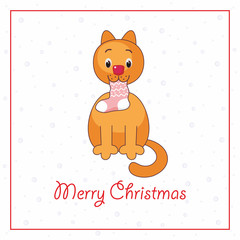 Merry Christmas greeting card with the image of funny cat