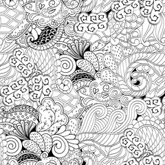 Tracery seamless calming pattern. Mehndi design. Ethnic monochrome binary doodle texture. Curved doodling black and white background. Vector.