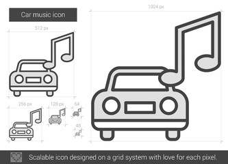 Car music line icon.