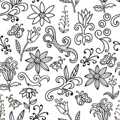 Black and white floral pattern with flowers, swirls, insects, butterfly. Seamless botanic texture, detailed hand drawn. Floral in doodle style, background. Vector.