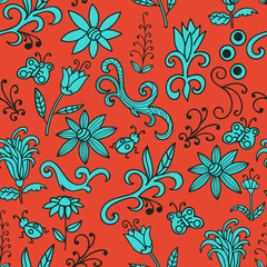 Bright orange and blue floral doodle with flowers, swirls, insects, butterfly. Seamless botanic texture, detailed hand drawn. Natural pattern in doodle style, summer background. Vector.