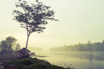 Vintage landscape nature and river background