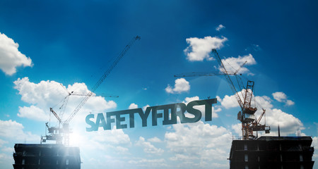 Construction safety first. safety concepts.