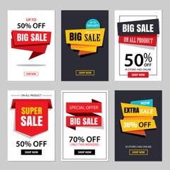 Set of sale website banner templates.Social media banners
