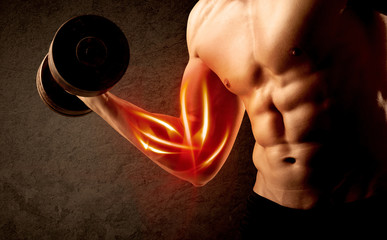 Fit bodybuilder lifting weight with red muscle concept Fototapete