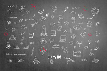 Stem education, Innovative knowledge learning concept with creative doodle on black school chalkboard