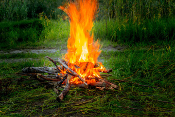 Bonfire on a meadow