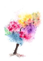Colorful tree, watercolor illustrator