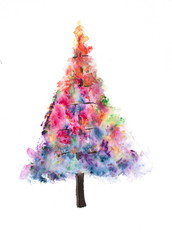 Colorful Christmas tree on white, watercolor painting