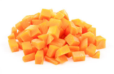chopped and sliced carrot on white