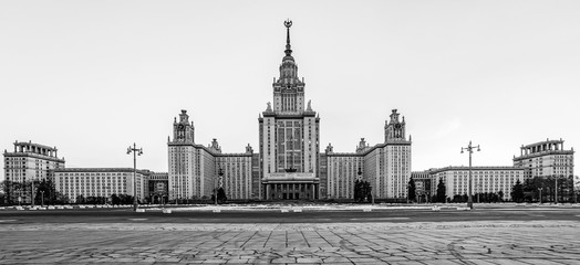Black and white envelope size view of the whole main building of Moscow university