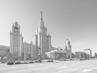Wide angle monochrome view of main building of Moscow University