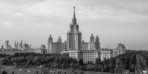 Black and white envelope size view of Moscow State University in summer