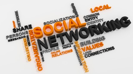 Social Networking word cloud over white background