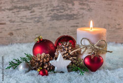 weihnachtszeit schnee kerze advent dekoration stockfotos. Black Bedroom Furniture Sets. Home Design Ideas