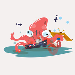 giant octopus with boat. damage - vector