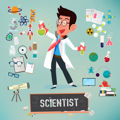 scientist with icon elements of laboratory equipment . scient equipment - vector illustration
