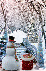 Christmas landscape : Snowman with gifts.