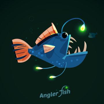 angler fish. character design - vector