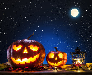 Grinning pumpkin lantern or jack-o'-lantern is one of the symbol