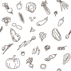 Hand-drawn seamless doodles pattern with different vegetables: tomato, onion, pumpkin, potatoes, cabbage etc. Harvest repeated background. Line art
