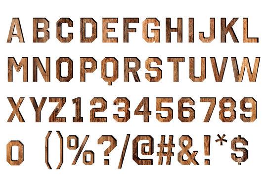 vintage wood alphabet isolated on white.
