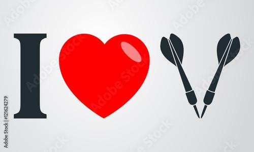 Icono Plano I Love Dardos En Fondo Degradado Stock Image And
