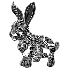 Hand drawn zentangle Rabbit for coloring book for adult, shirt d
